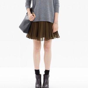 Madewell Olive Green Georgette Skirt